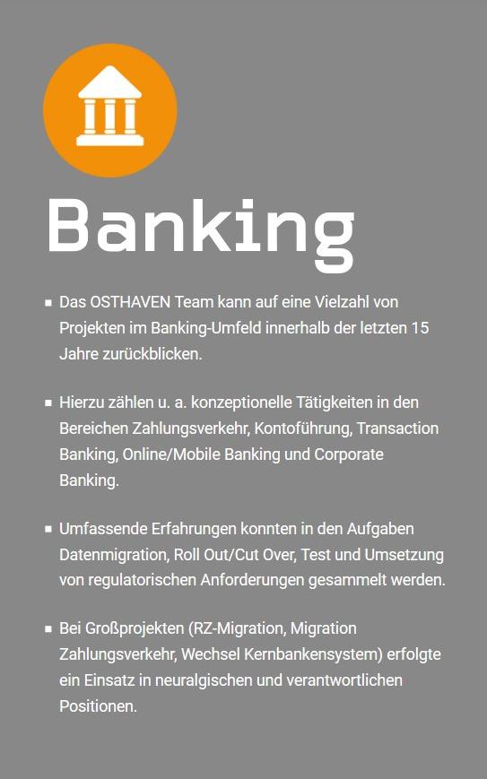 OSTHAVEN: Ihr Partner für Banking, Banking-Services, Payment, Payemt-Services, Financial Services und Cash Management